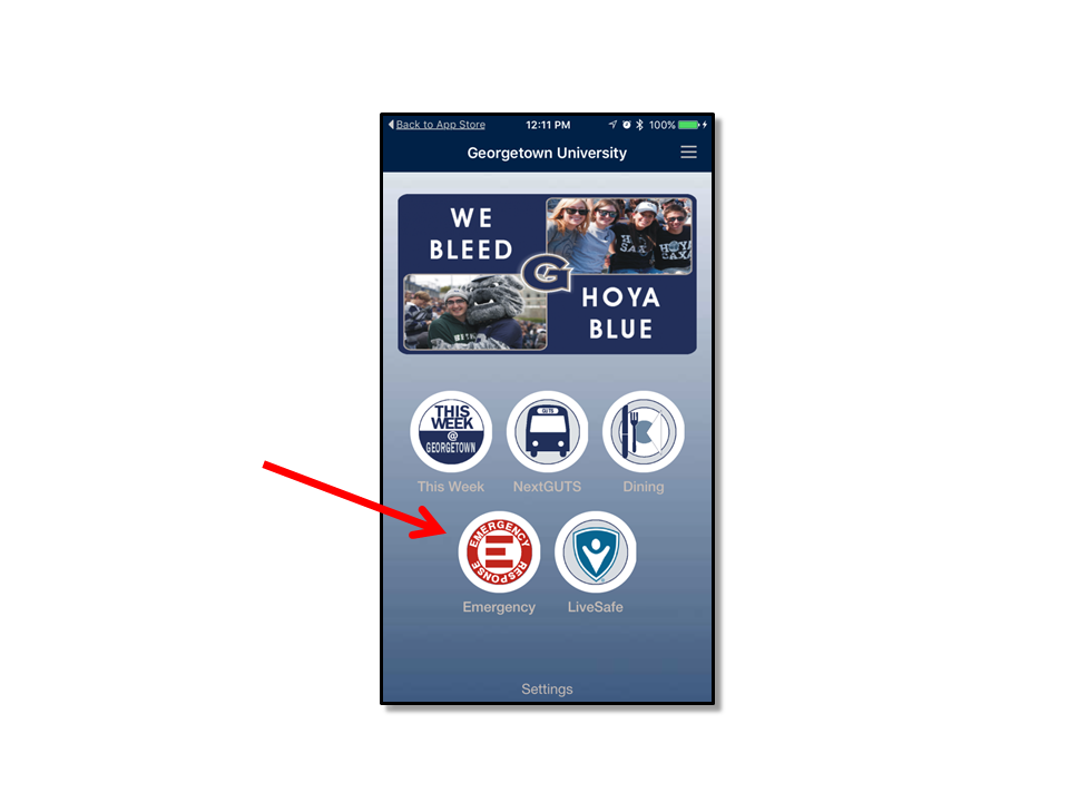 Emergency Info button on the Georgetown Mobile App